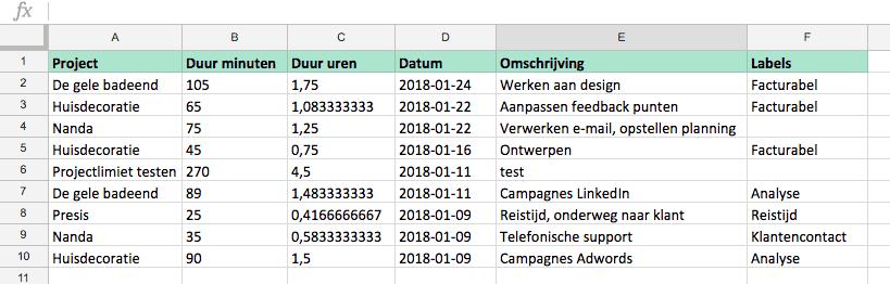 Nanda urenoverzicht - Nanda 3 Beta - Excel export