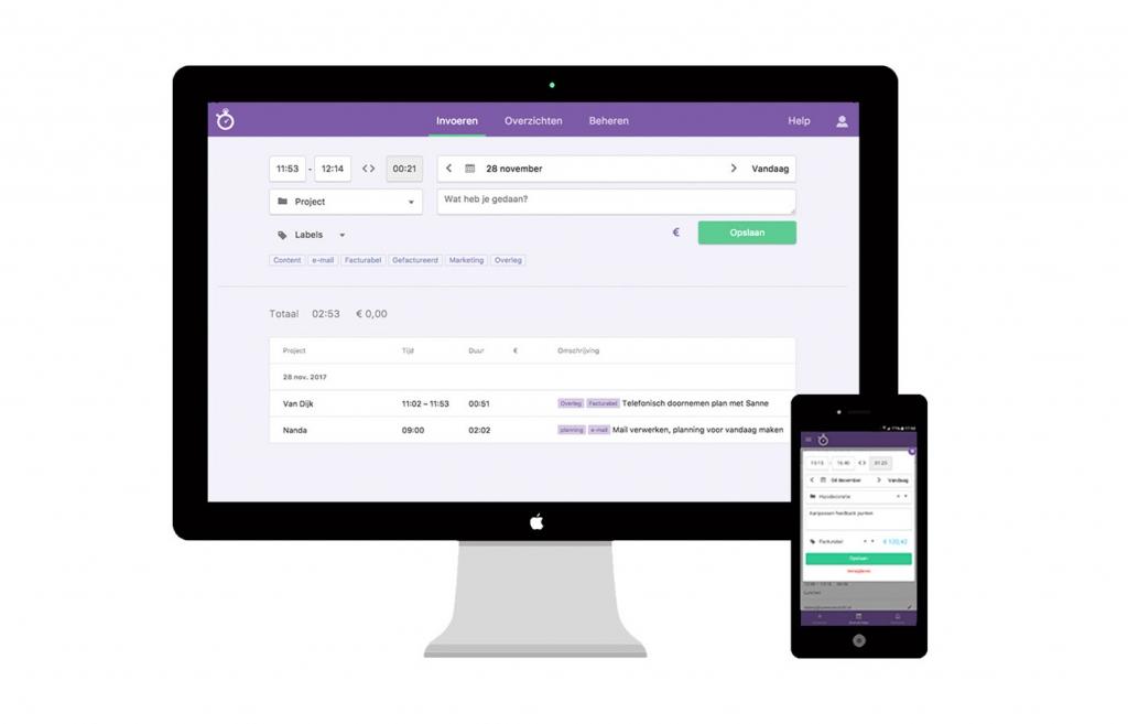 Nanda urenoverzicht - Online uren registreren -online gemak